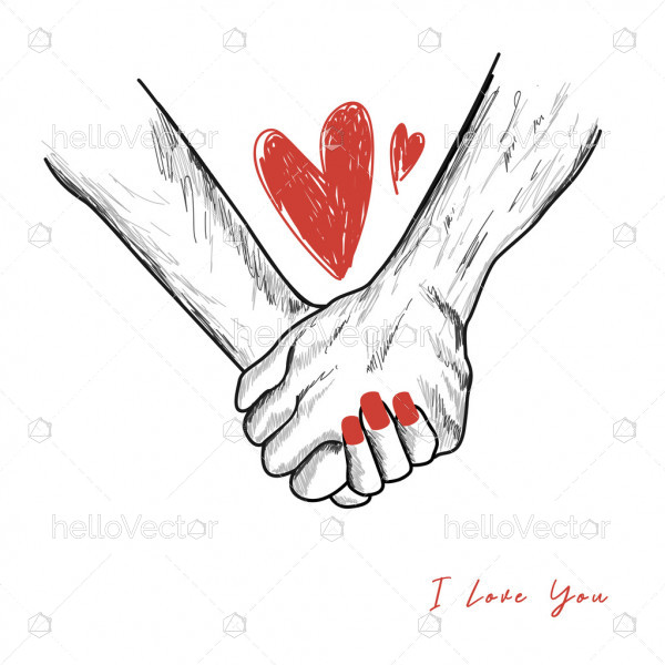 Couple holding hands drawing - Vector