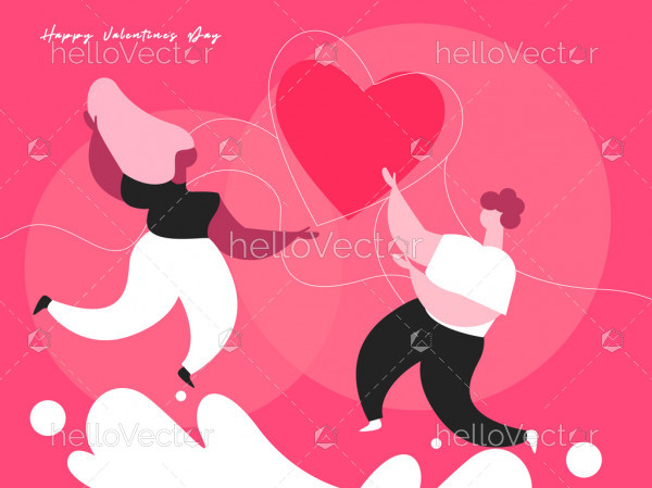 Cartoon couple character in love, Valentine's background