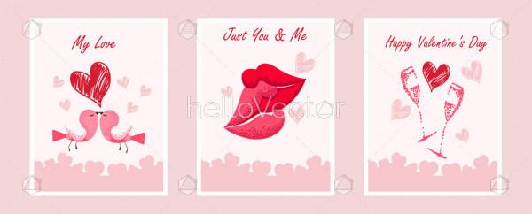 Pink Valentines Day Postcard Design Set