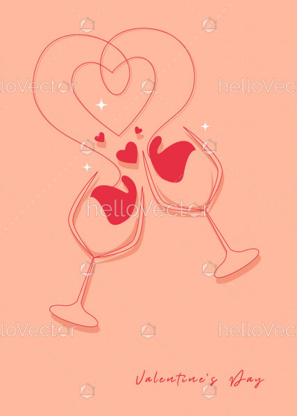Valentine's day and Wedding romantic concept minimalist illustration