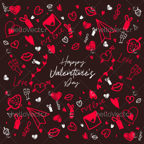 Love decorative doodle elements background