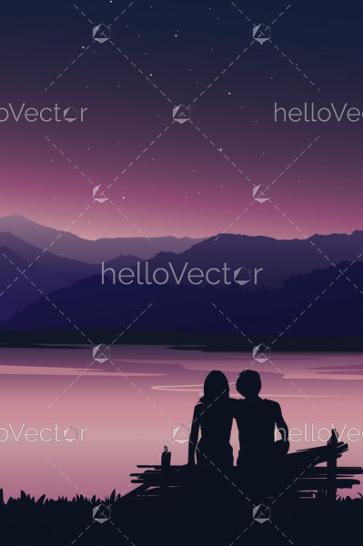 Silhouette of love couple sitting on the bench at sunset - Vector Background