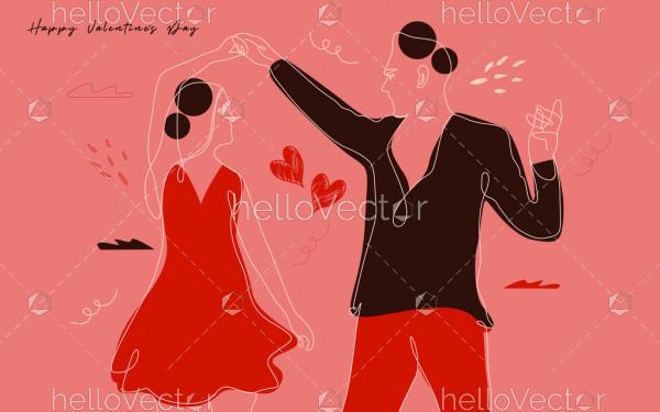 Dancing Couple Modern Illustration