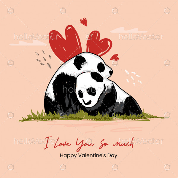 Valentine's day greeting card with panda in love doodle