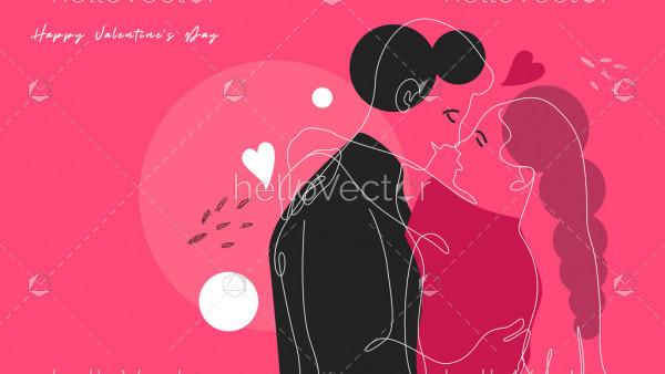 Romantic Hugging Couple - Modern Illustration