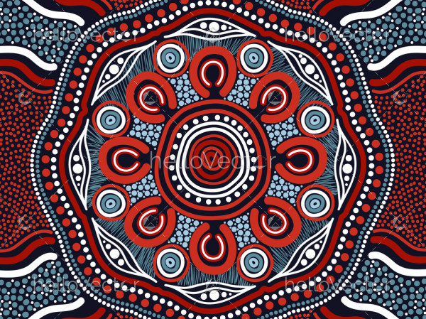 Aboriginal dot vector art background