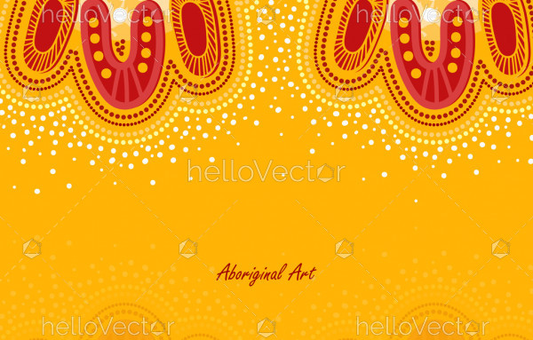 Yellow poster background with aboriginal vector artwork