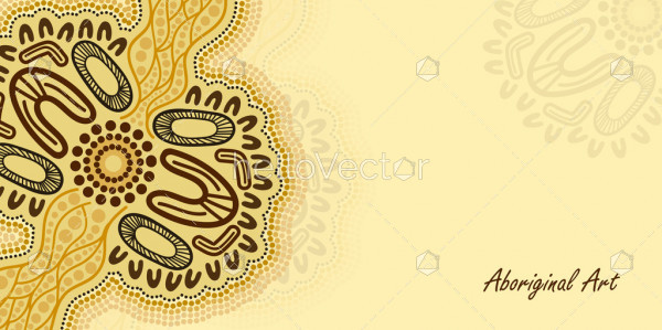 Poster background vector with aboriginal artwork