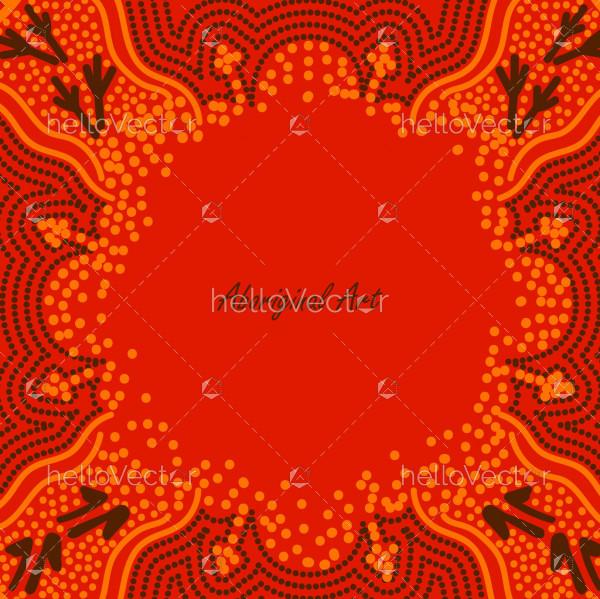Orange poster background with aboriginal artwork