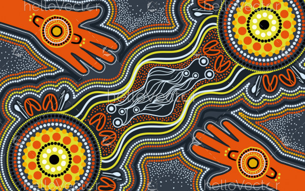 Aboriginal dot hand painting
