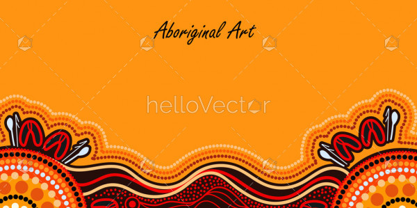 Yellow poster background with aboriginal artwork