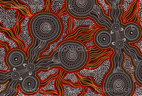Connection lines aboriginal artwork