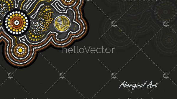 Aboriginal turtle art banner design