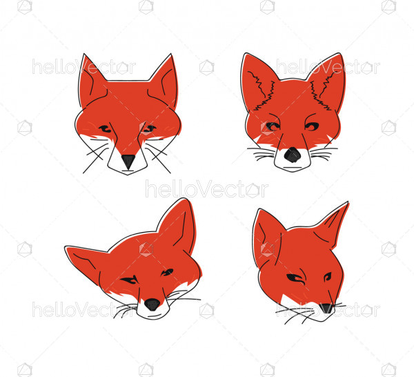 Fox Head Icons - Vector