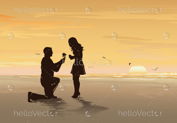 Silhouette of young man with rose proposing to his beloved on the sea beach background