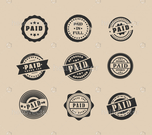 Set of various round paid stamps - Vector