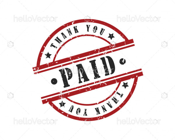 Round stamp with the paid and thank you text