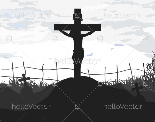Jesus Christ on the cross - Vector Silhouette