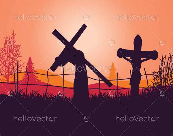 Silhouette of Jesus Christ carrying cross