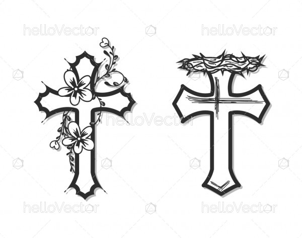 Floral Cross Silhouette