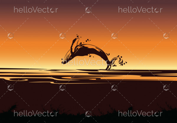 Silhouette of jumping shark, Sea background with fish - Vector illustration