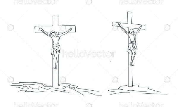 line drawing of Jesus Christ on cross