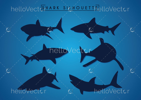 Sharks silhouette collection - Vector Illustration