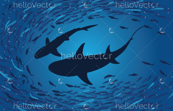 Shark silhouette under water - Vector Illustration