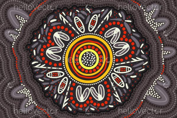 Aboriginal dot vector art background