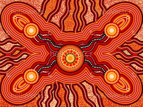 Aboriginal connection art background