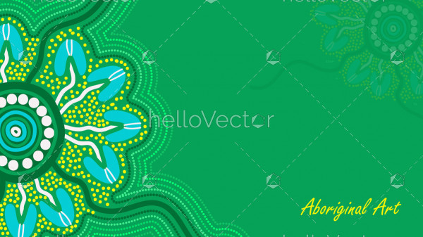 Green aboriginal art poster design