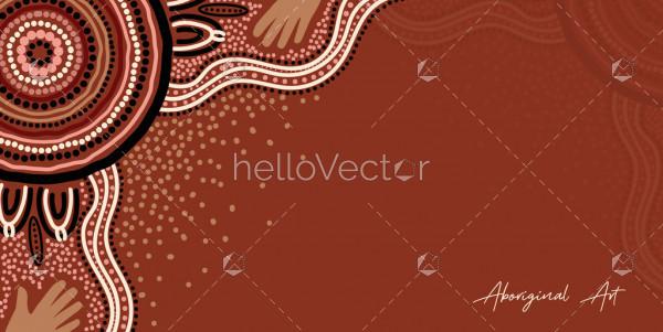 Aboriginal art on brown poster background