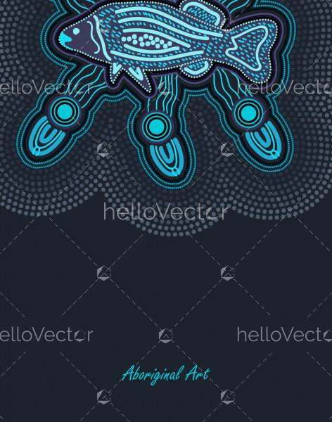 Poster design with aboriginal fish art