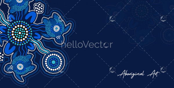 Poster design with aboriginal turtle art