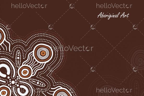 Aboriginal work on brown poster background