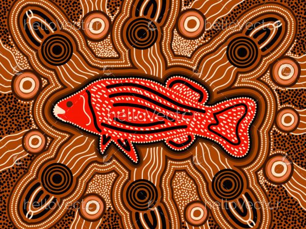 Fish aboriginal art background