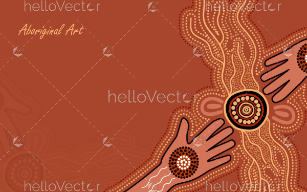 Poster template with aboriginal hand art