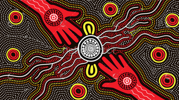 Australian aboriginal hand painting