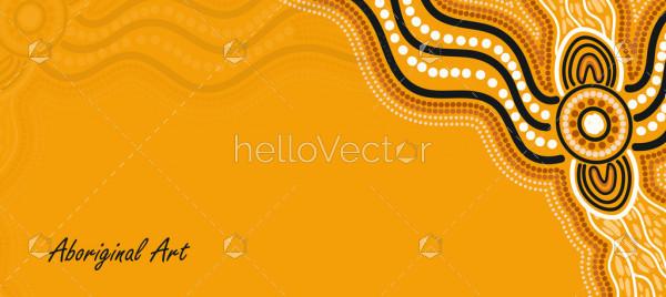 Yellow aboriginal art banner