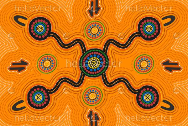 Aboriginal artwork - connection concept