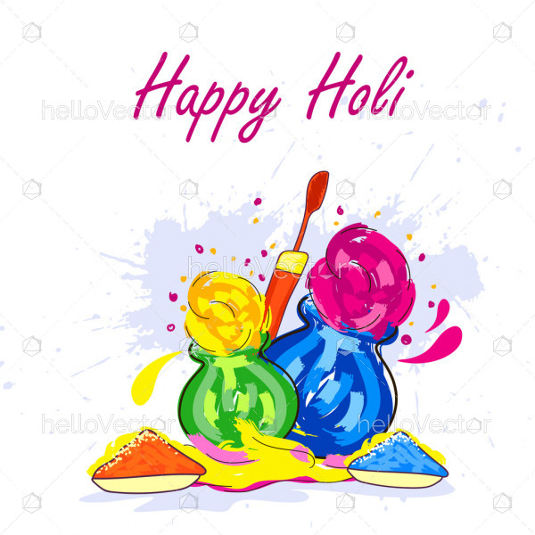 Colorful gulaal (powder color) illustration for Happy Holi