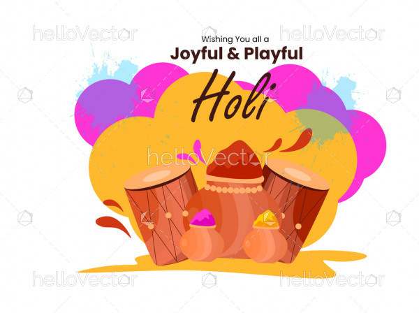 Happy holi greeting card - Vector