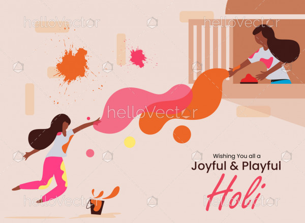 Two girls playing holi - Happy holi greeting card vector design