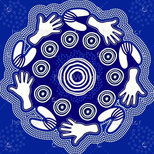 Blue Aboriginal Hand Painting
