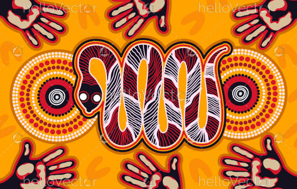Snake aboriginal art background