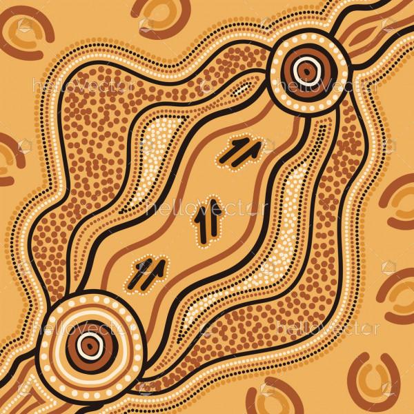 Kangaroo track aboriginal background