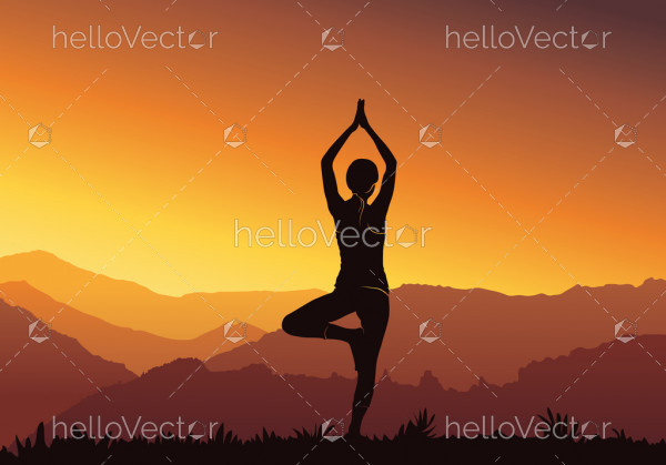 Yoga background. Silhouette of young woman practicing yoga on top of the mountain - Vector illustration