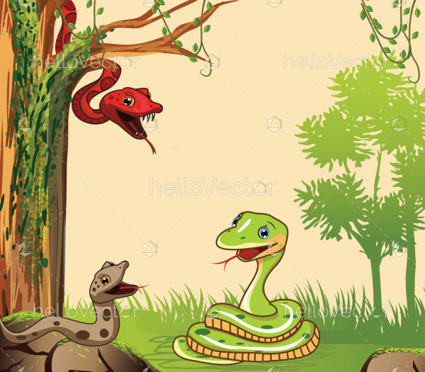 Cartoon snake in the forest