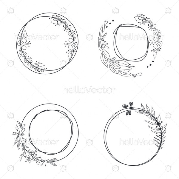 Floral circle frames - vector set