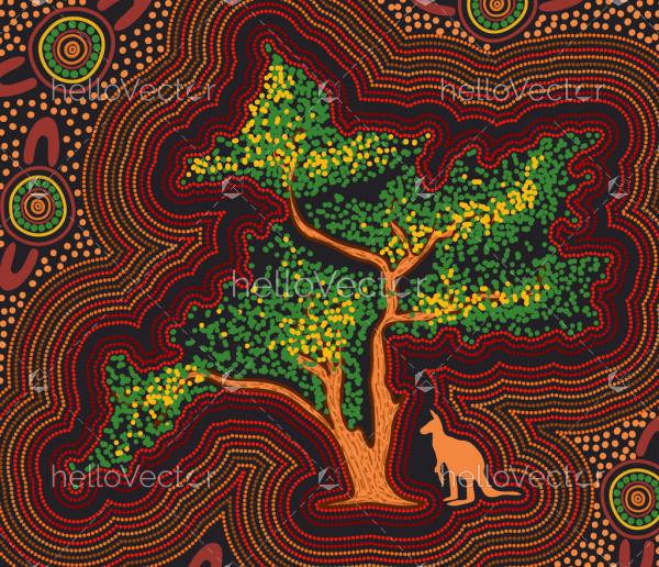 Wattle tree aboriginal art